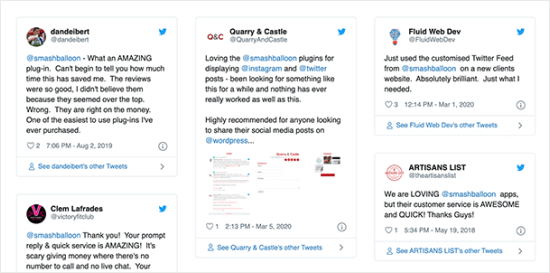 A custom Twitter feed showing @mentions