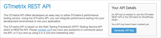 GTmetrix API