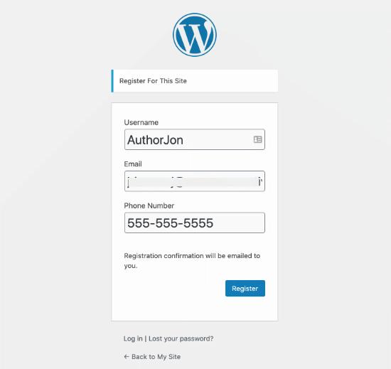 Modulo di registrazione utente WordPress