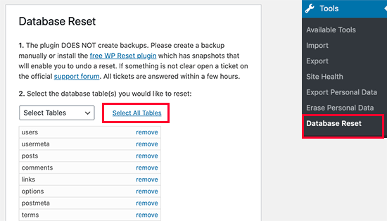 Select tables you want to reset in your WordPress database