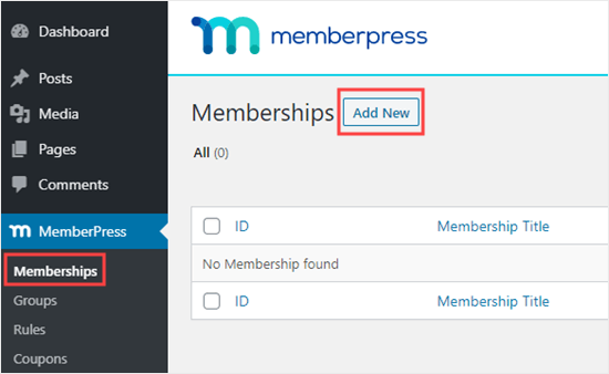 Adding a new membership in MemberPress