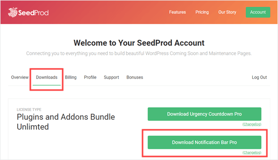 Downloading Notification Bar Pro from SeedProd