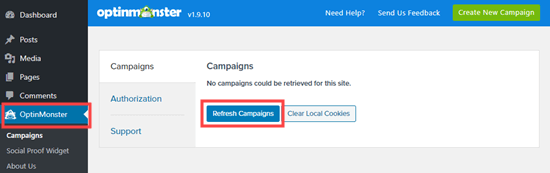 Refresh your list of OptinMonster campaigns in WordPress