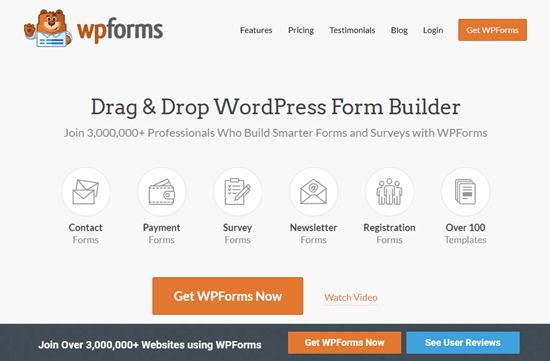 Le site web du WPForms