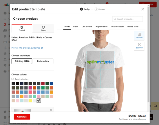 Creating an OptinMonster t-shirt with Printful