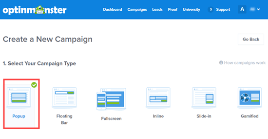 Seleccione el tipo de campaña para su opción: recomendamos usar el tipo de campaña Popup