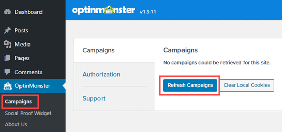 Click the Refresh Campaigns button to see your new campaign listed in your WordPress admin