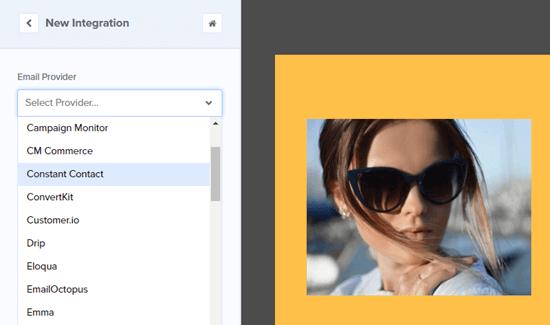 Seleccione su proveedor de correo electrónico de la lista desplegable