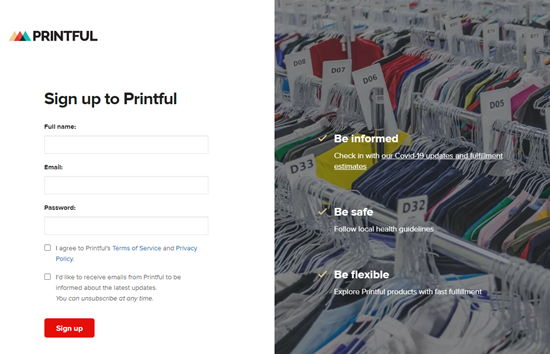 Enter your details to sign up for Printful