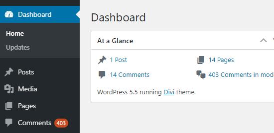 Le nombre de commentaires en attente affichés dans la barre latérale d'administration de WordPress et sur le tableau de bord