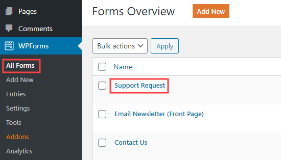 Editing a form in WPForms