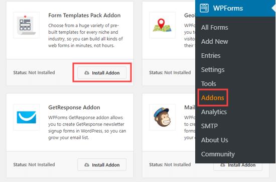 De add-on voor formuliersjablonen toevoegen aan WPForms