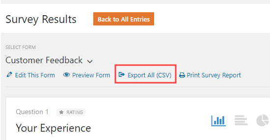 Exporting all answers from the questionnaire as a CSV file