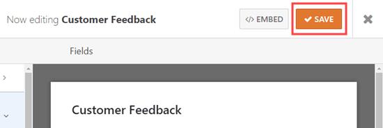Salva il modulo di feedback del cliente dopo la modifica