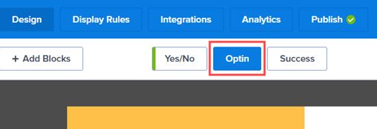 Haga clic en la pestaña Optin para editar la vista de suscripción de su campaña