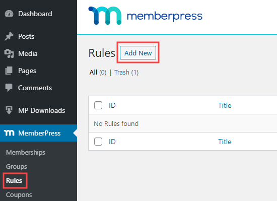 Adding a new rule in MemberPress