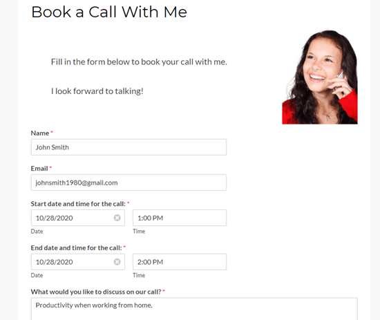 Creating a test entry for your contact form or booking form
