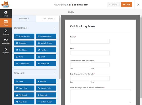 Een oproepboekingsformulier maken in WPForms