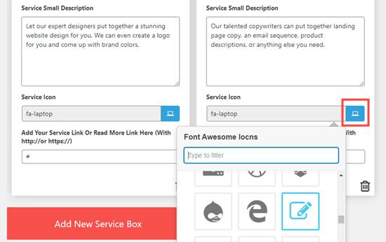 Scegli un'icona da utilizzare per ogni servizio che desideri elencare