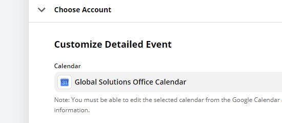 Kies welke kalender je wilt gebruiken met de Zap