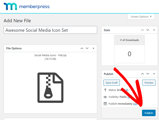 Publishing your downloadable file in MemberPress