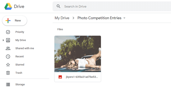 Viewing the uploaded file in Google Drive