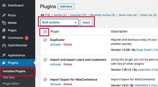 Disattiva tutti i plugin di WordPress