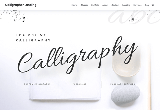 Divi's calligraphy layout pack