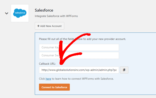Get your Callback URL for Salesforce