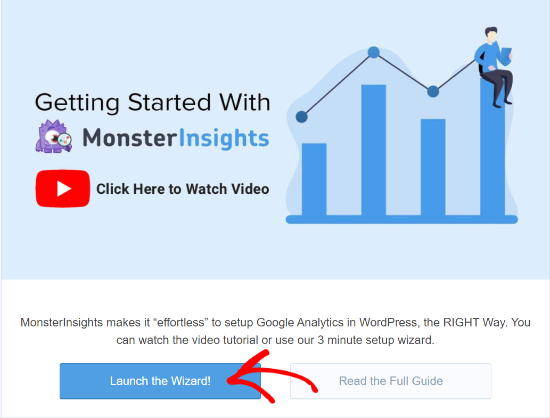 launch MonsterInsights setup wizard