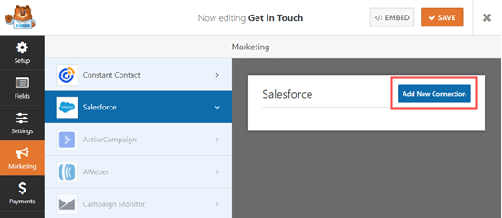 Go to the Marketing -- Salesforce tab to add a new Salesforce connection for your form