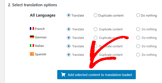 Clicking the button to add your selected content to your translation basket