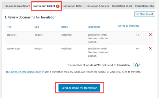 Sending your products for translation