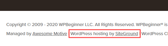 WPBeginner hosting details shown in the footer
