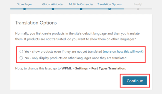 Selecting whether or not products should display without a translation