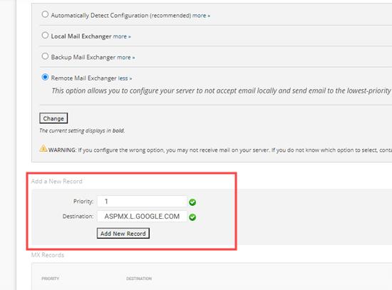 Hinzufügen Ihres MX-Eintrags in SiteGround