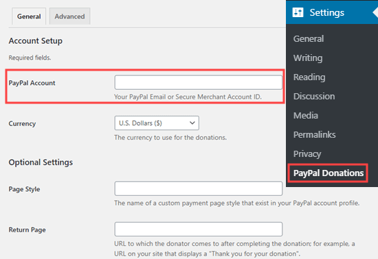 Add the email address for your PayPal account to the PayPal Donations plugin settings