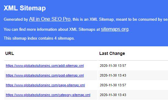 De index van sitemaps in All in One SEO