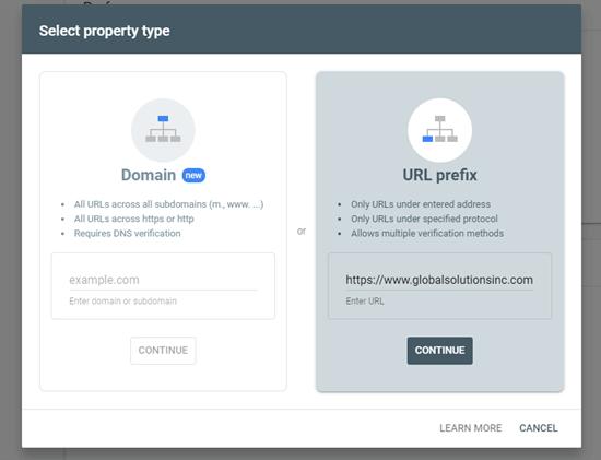 Gebruik de URL-prefixmethode om uw site toe te voegen aan Google Search Console