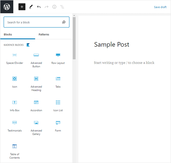 The Kadence blocks shown in the WordPress block editor