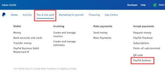 De menuoptie PayPal-knoppen selecteren