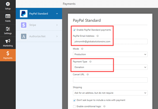 Enabling PayPal payments for your form in WPForms