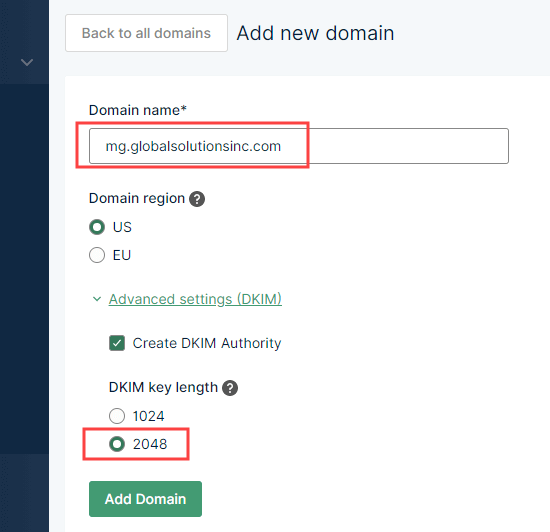 Adding your subdomain to Mailgun