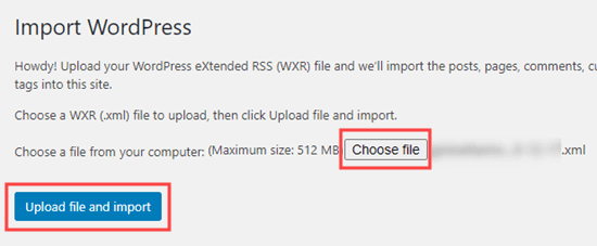 Choosing a file to import to your website