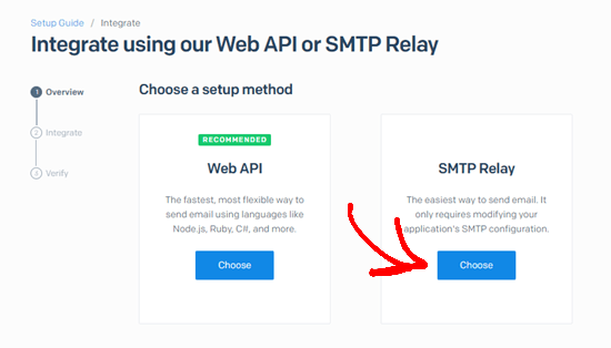Choose the SMTP relay option