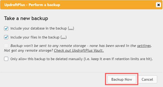 Bevestig dat u een back-up wilt maken met UpdraftPlus