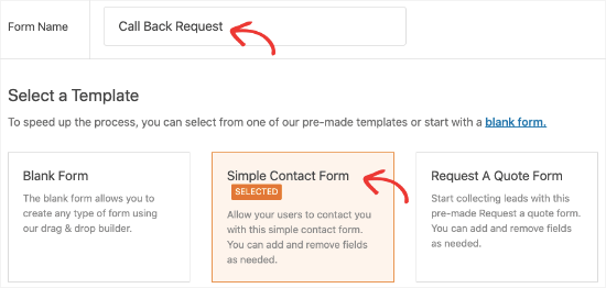 Create new form in WPForms
