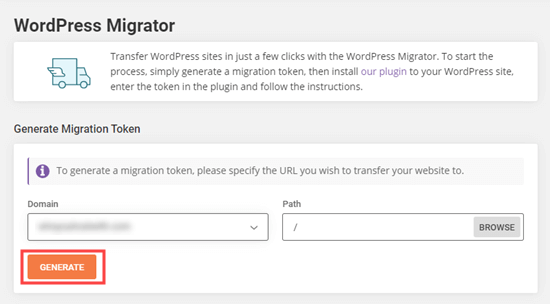 Generating the migration token in SiteGround