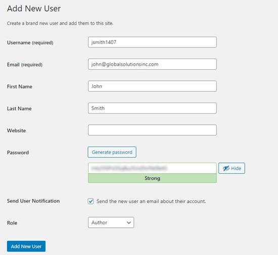 Inserendo i dettagli per il tuo nuovo utente in WordPress