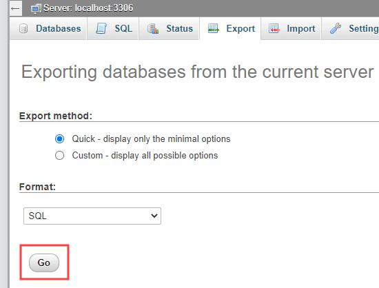 Een snelle database-export uitvoeren vanuit phpMyAdmin